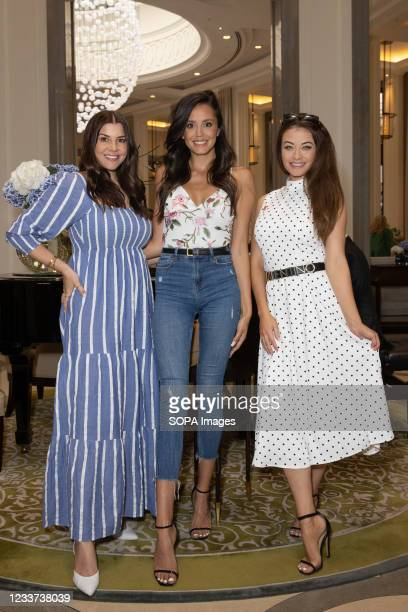 Imogen Thomas, Tyla Carr and Jess Impiazzi attend afternoon tea at Corinthia Hotel London in aid of Breast Cancer Now hosted by Angie Greaves and...