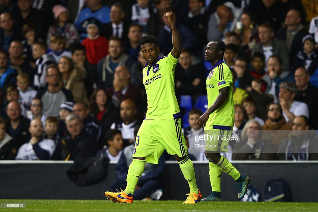 Imoh Ezekiel of Anderlecht celebrates after scoring a goal to level the scores at 1-1 during the UEFA Europa League Group J match between Tottenham Hotspur FC and RSC Anderlecht at White Hart Lane on November 5, 2015 in London, United Kingdom.