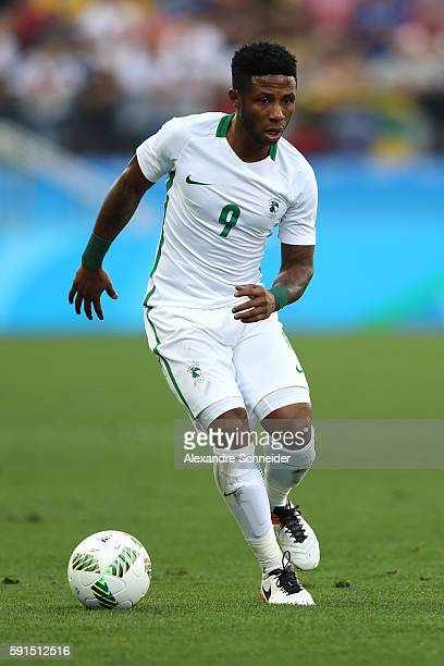 Imoh Ezekiel of Nigeria controls the ball during the Men's Semifinal Football match between Nigeria and Germany on Day 12 of the Rio 2016 Olympic...