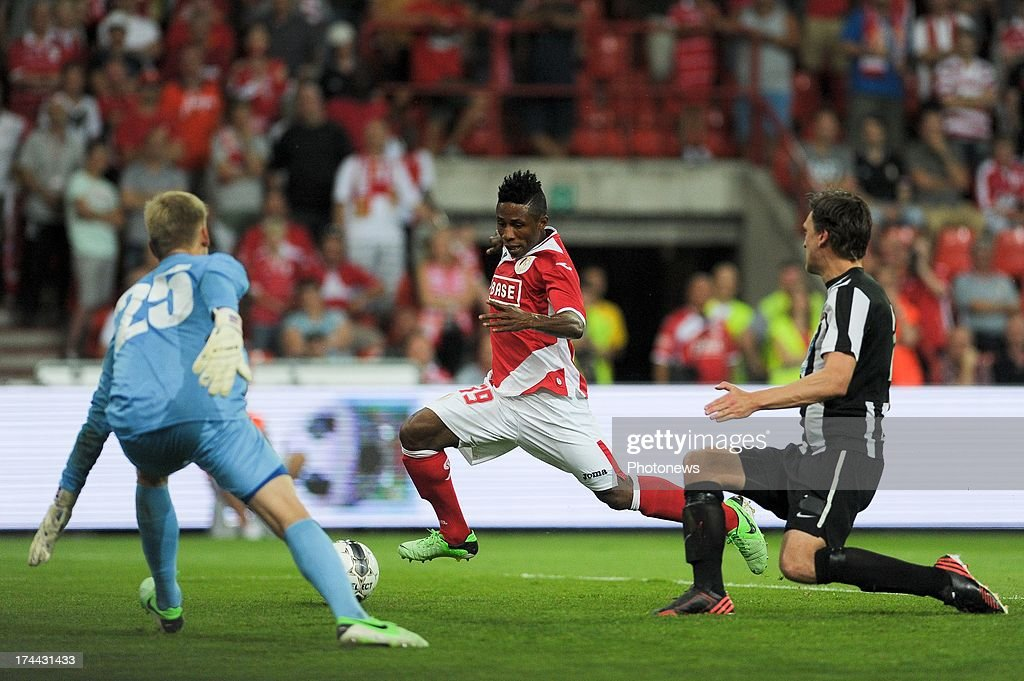 Imoh Ezekiel #39 of Standard de Liege moves the ball during a Europa League match against KR Reykjavik on July 25 , 2013 in Liege, Belgium.