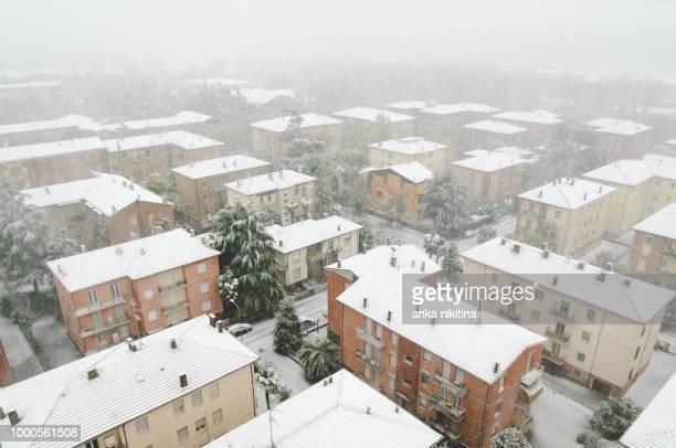 imola under snow - nikitina stock pictures, royalty-free photos & images