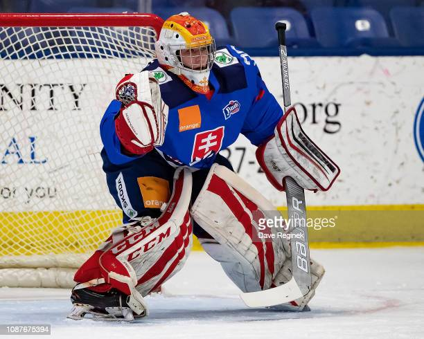 imon Latkóczy of the U17 Slovakia Nationals follows the play against the Russian Nationals during day2 of game one of the 2018 Under17 Four Nations...