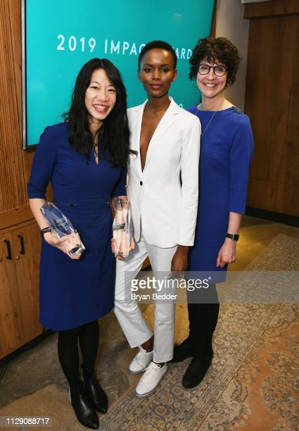 Impact Award winner Steph Speirs Flaviana Matata and Senior Director GAP Foundation and PACE Global Initiatives Gail Gershon attend ELLE INCO 2019...