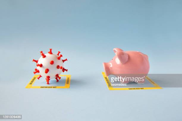 impact of pandemic and social distancing on financial concepts still life. - recession stock pictures, royalty-free photos & images