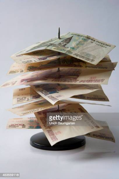 Impaled Russian rubles banknotes on August 13 2014 in Bonn Germany