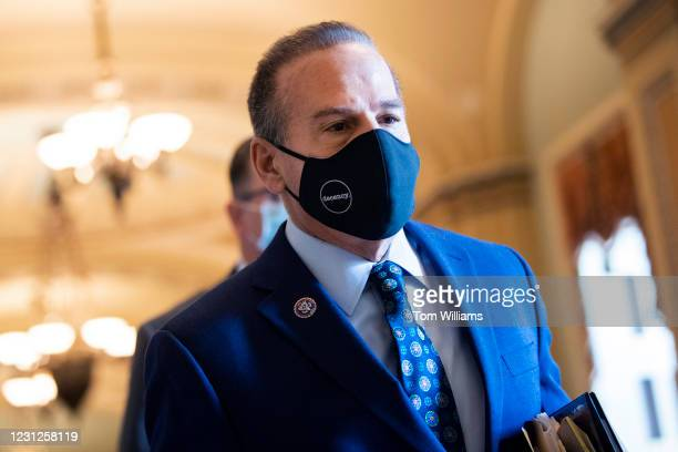 Impeachment manager Rep. David Cicilline, D-R.I., arrives to the Senate for the second day of the impeachment trial of former President Donald Trump...