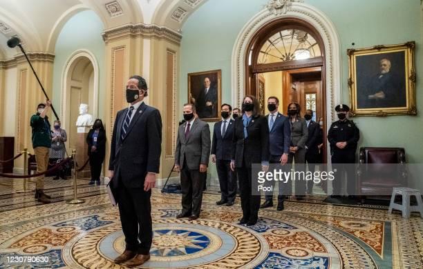 Impeachment managers Representatives Jamie Raskin , Diana DeGette , David Cicilline , Joaquin Castro , Eric Swalwell , Ted Lieu , Stacey Plaskett ,...