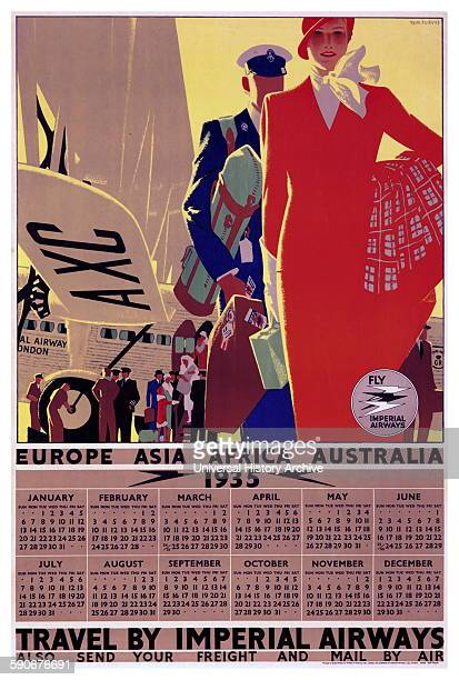 Imperial Airways year view calendar for 1935