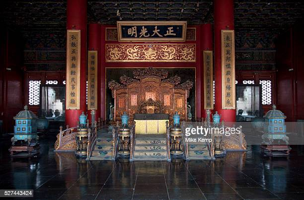 Imperial Emporer's throne in the Palace of Heavenly Purity The Forbidden City was the Chinese imperial palace from the Ming Dynasty to the end of the...
