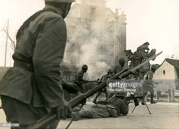 Imperial Japanese Army soldiers attacks during the SinoJapanese war on April 21 1941 in Ningbo China