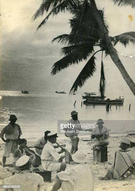 Imperial Japanese Navy soldiers relaxed at a beach circa May 1942 in Truk Islands Micronesia Truk Islands was under Japanese occupation during the...