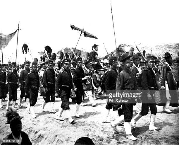 Imperial Japanese procession 1900 The emperor Meiji escorted by troops