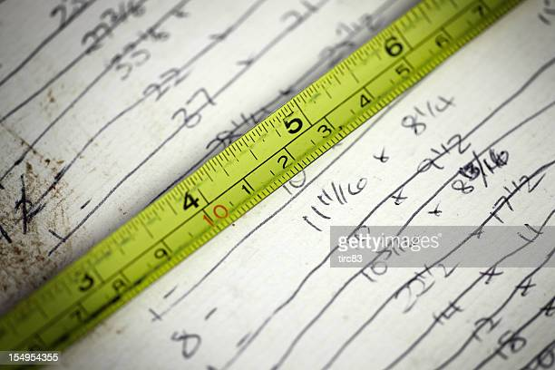 Imperial measurements of length and yellow tape measure