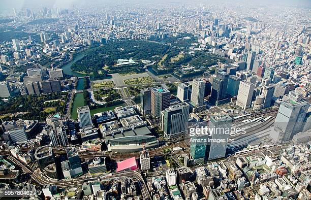 imperial palace and tokyo station - tokyo station stock photos and pictures