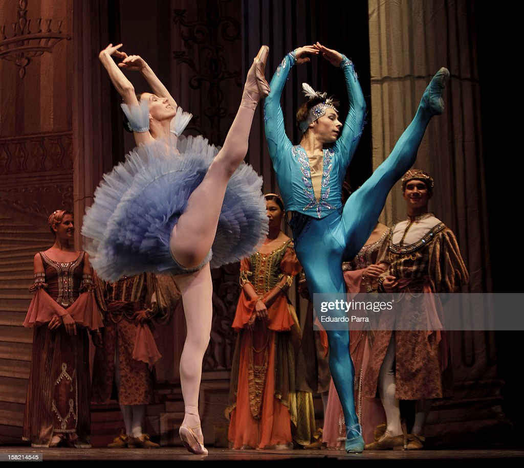 Imperial Russian Ballet dancers rehearse for journalists for a show that will premiere in Madrid Christmas 2012 at New Apolo theatre on December 11, 2012 in Madrid, Spain.