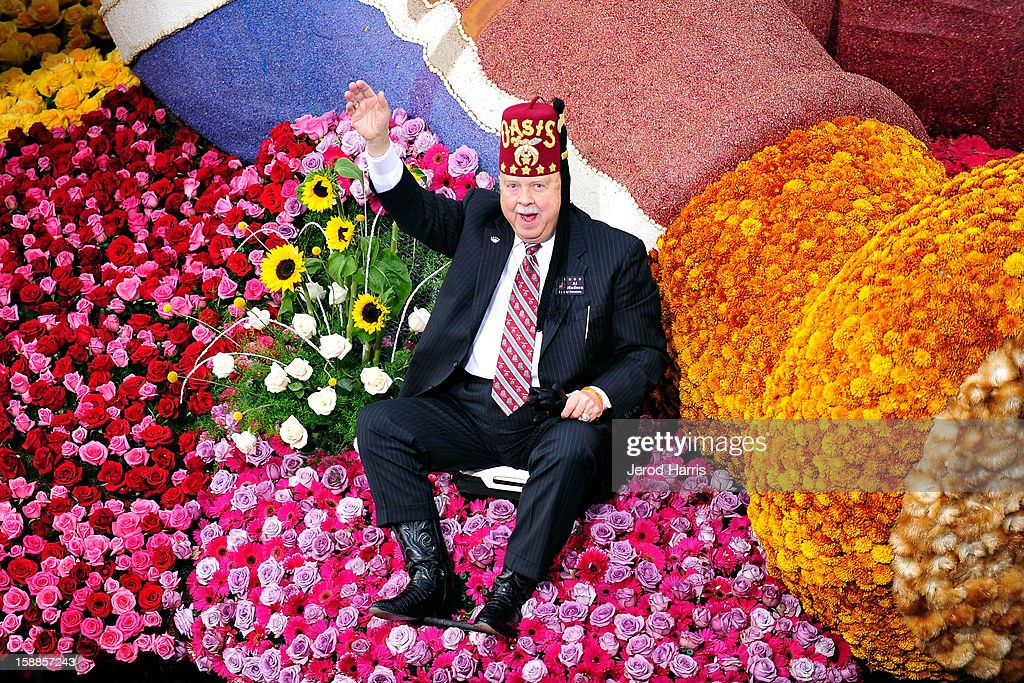 Imperial Sir Al Madsen rides on the Shriners Float in the 124th annual Rose Parade themed 'Oh, the Places You'll Go!' on January 1, 2013 in Pasadena, California.