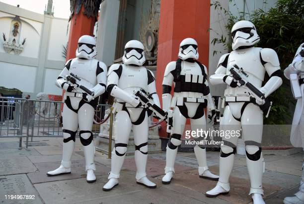 """Imperial stormtroopers pose at the IMAX opening of """"Star Wars: The Rise Of Skywalker"""" at TCL Chinese Theatre on December 19, 2019 in Hollywood,..."""
