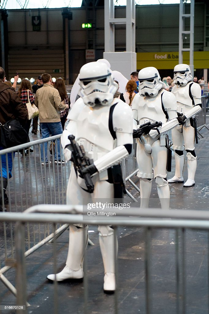 Imperial Stormtroopers seen providing security on the 2nd day of Comic Con 2016 on March 20, 2016 in Birmingham, United Kingdom.