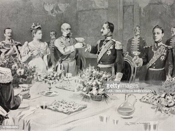 Imperial toast between Wilhelm II of Germany and Franz Joseph I of Austria , Berlin Conference, Germany, drawing by R Salvadori after a sketch by H...