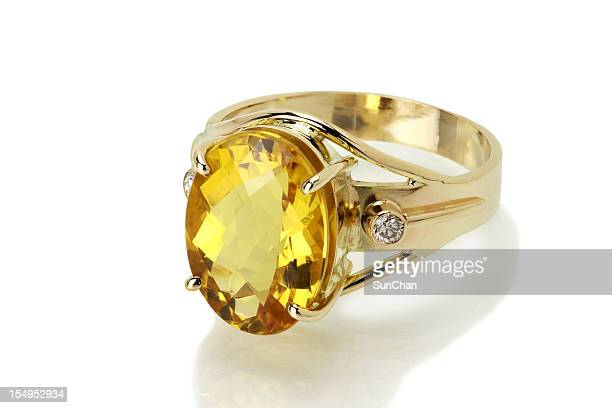 imperial topaz or citrine ring - topaz stock photos and pictures