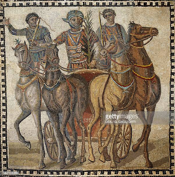 Imperialage mosaic depicting a chariot race Roman Civilisation 3rd century Madrid Museo Arqueológico Nacional