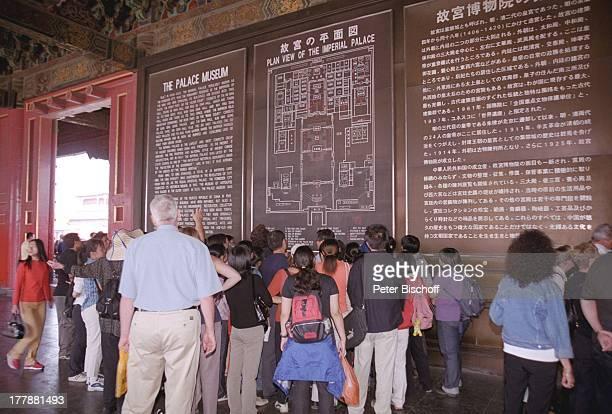 ImperialPalast Museum in der Verbotene Stadt Beijing Peking Hauptstadt von China Asien Reise Kultur Gebäude Architektur Kaiserpalast Lageplan...