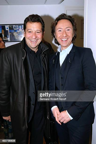 Impersonator Laurent Gerra and Main Guest of the show Stephane Bern attend the 'Vivement Dimanche' French TV Show at Pavillon Gabriel on February 18...