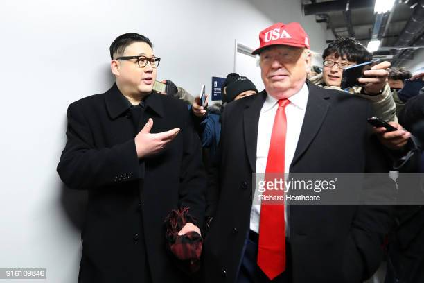 impersonators of Donald Trump and Kim Jong Un are escorted out of the ceremony during the Opening Ceremony of the PyeongChang 2018 Winter Olympic...