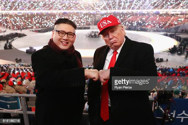 Impersonators of Donald Trump and Kim Jong Un pose during the Opening Ceremony of the PyeongChang 2018 Winter Olympic Games at PyeongChang Olympic...