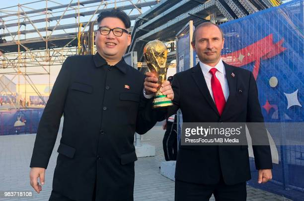 Impersonators of the Kim Jongun and Vladimir Putin after the 2018 FIFA World Cup Russia group A match between Uruguay and Russia at Samara Arena on...