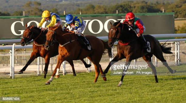 Imphal and Tyler Saunders win The Butlins Handicap Stakes Race run at Goodwood Racecourse Chicester