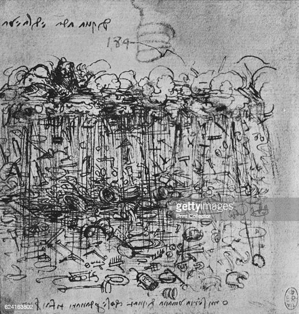 Implements Rained Down the Earth from the Clouds' c1480 From The Drawings of Leonardo da Vinci [Reynal Hitchcock New York 1945] Artist Leonardo da...