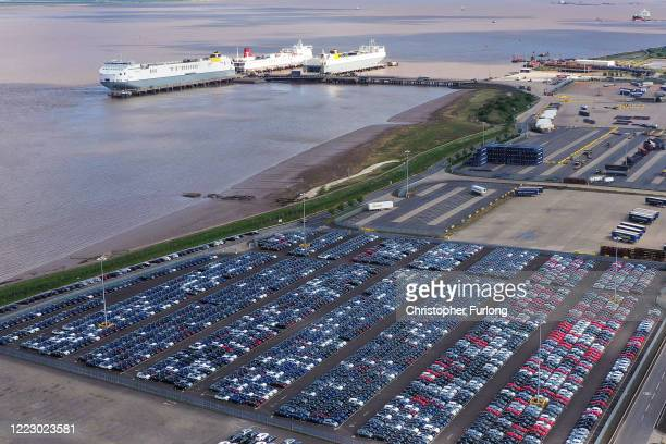 Imported vehicles sit at the docks near Immingham on May 05 2020 in Grimsby England During the coronavirus lockdown new car sales have dropped 97%...
