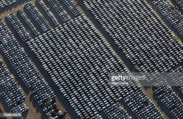Imported vehicles sit in a lot after being offloaded at the Port of Los Angeles the nation's busiest container port on September 18 2018 in...
