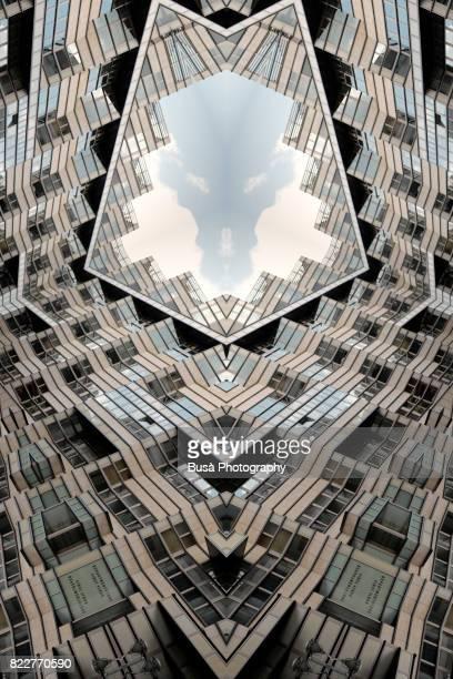 impossible architectures: digital manipulation of art-deco-inspired department store quartier 206 in friedrichstrasse, berlin, germany - beeldmanipulatie stockfoto's en -beelden