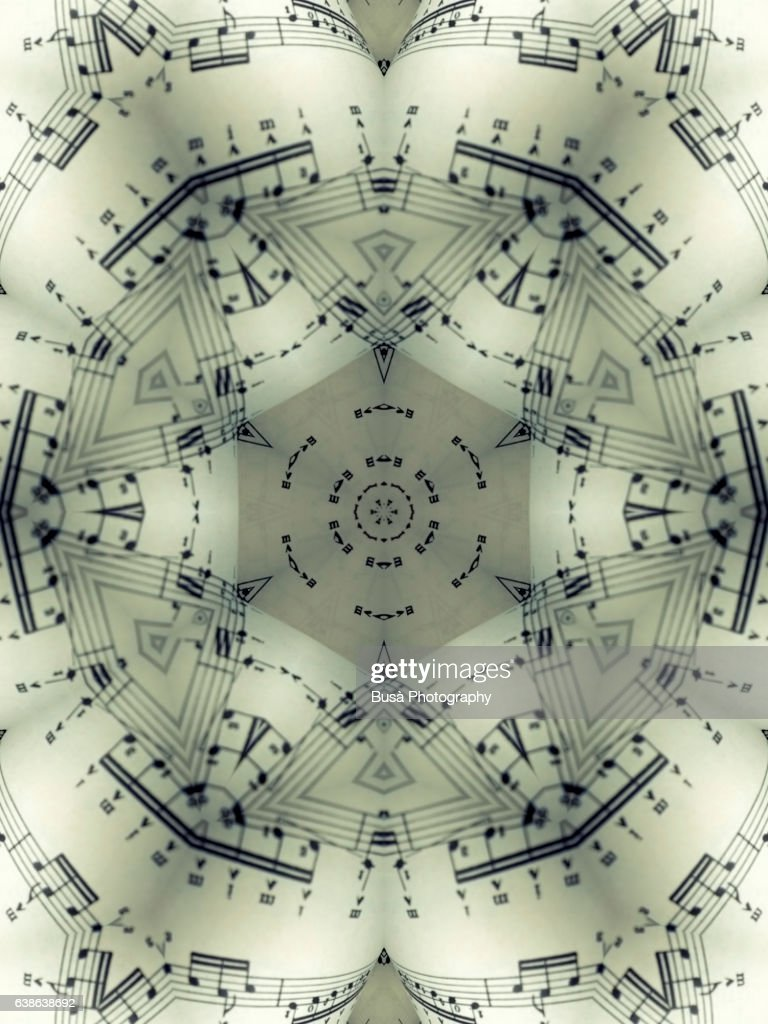 Impossible architectures: digital manipulation of close-up image of sheet music : Stock Photo