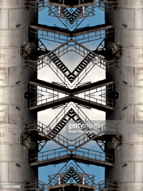 impossible architectures: digital manipulation of kokerei hansa, old industrial relic in dortmund, germany - dortmund stock pictures, royalty-free photos & images