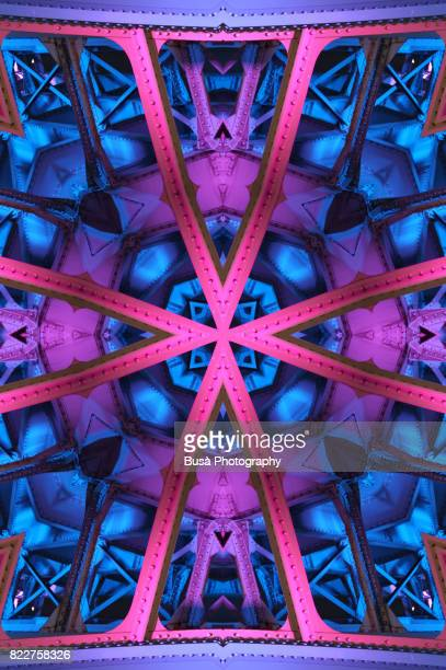 impossible architectures: digital manipulation of the southwark bridge illuminated at twilight. london, uk - radial symmetry stock pictures, royalty-free photos & images