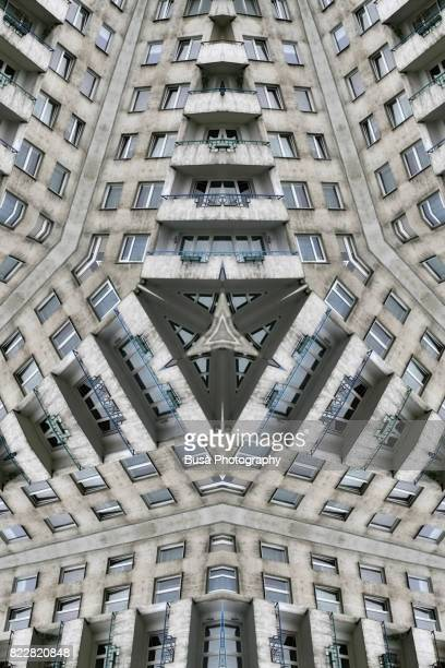 Impossible architectures: kaleidoscopic image of communist-era residential housing project in the outskirts Warsaw, Poland