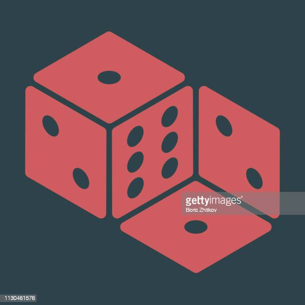 impossible dice - isometric projection stock photos and pictures