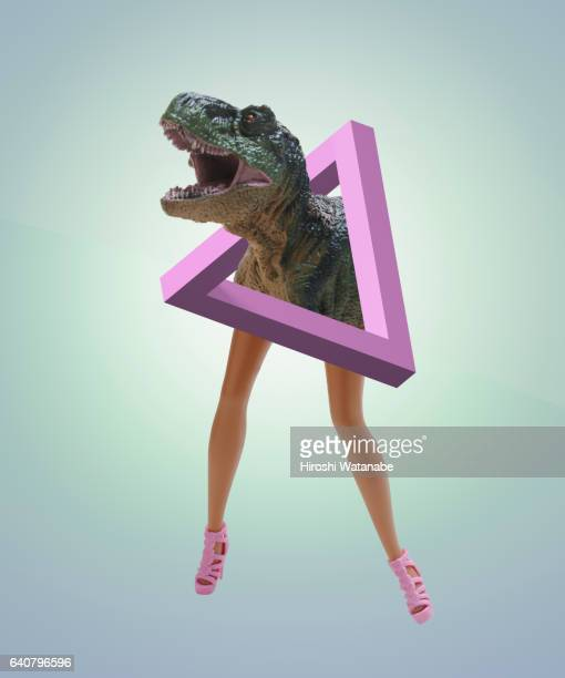 Impossible Shape with dolls legs and dinosaur