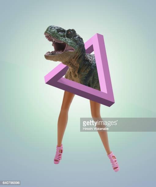 impossible shape with dolls legs and dinosaur - evolução - fotografias e filmes do acervo