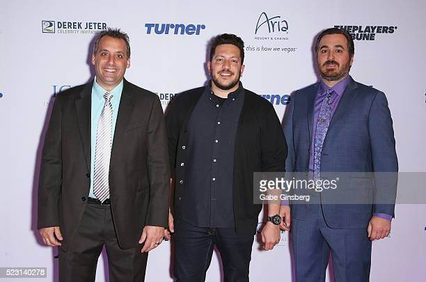 Impractical Jokers cast members Joe Gatto Sal Vulcano and Brian Quinn attend the Derek Jeter Celebrity Invitational gala at the Aria Resort Casino on...