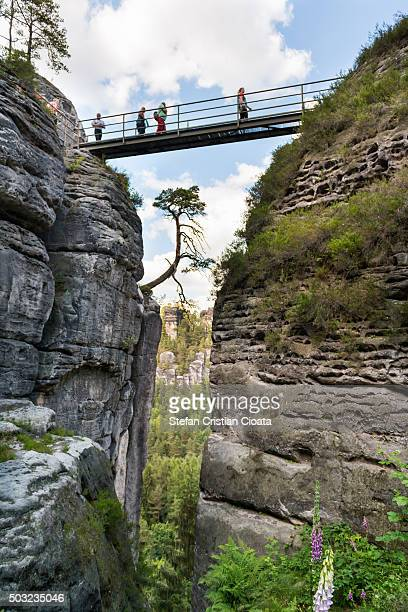 impresive height at bastei - saxony stock pictures, royalty-free photos & images