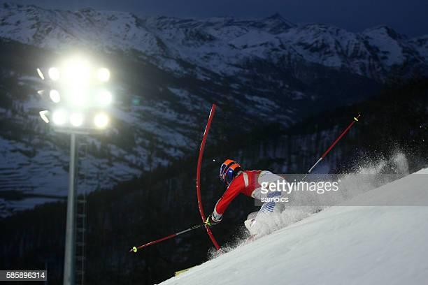 Impression des Nacht Slalom Anton Konovalov RUS Kombinations Slalom der Mnner Ski Alpin Skiing Slalom Combination 14 2 2006 olympische Winterspiele...