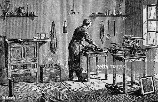 Impression of photoengraving with a press engraving c 1867
