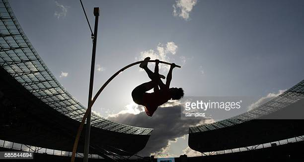 Impression of the men's pole vault competition against the sunlight during the IAAF World Athletics Championships at the Olympic Stadium in Berlin,...