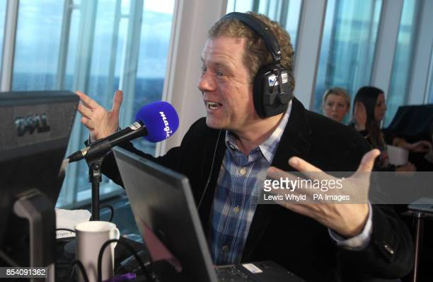 Impressionist Jon Culshaw on the radio as Neil Fox broadcasts on Europe's highest breakfast show as Magic 1054 go live from the 69th floor of the...