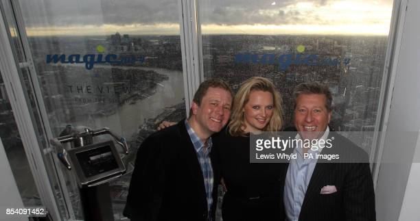 Impressionist Jon Culshaw with Neil Fox and Verity Geere as they broadcast Europes highest breakfast show as Magic 1054 go live from the 69th floor...