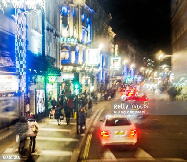 impressionist london, shaftesbury avenue, theatre land. - shaftesbury avenue london stock photos and pictures
